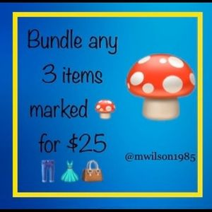 Pick any 3 items with a 🍄 and add it to a bundle!
